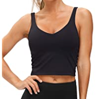 Women's Longline Sports Bra Wirefree Padded Medium Support Yoga Bras Gym Running Workout Tank Tops