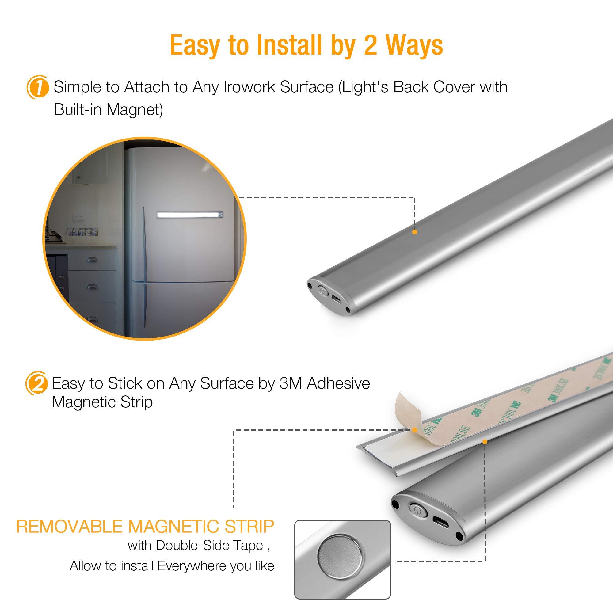 66 LED Under Cabinet Light, Rechargeable Motion Sensor Closet Light Wireless Luxury Aluminum Night Lighting for Kitchen Cabinet, Closet, Wardrobe, 2 Sensor Mode (Only Motion, Motion & Light) by LOFTER (Image #6)