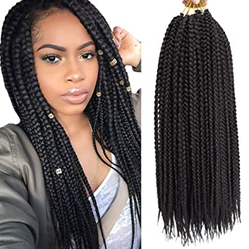 Amazon Com 6packs 18 Inch Box Braids Crochet Hair Synthetic Hair Extensions Dreadlocks 24 Strands Pack Twist Crochet Braids Braiding Hair Long For Black Women 18 Inch 1b Beauty