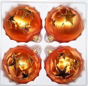 Christbaumkugeln 12 Cm Durchmesser.4 Tlg Glas Weihnachtskugeln Set 12cm O In Ice Orange Gold