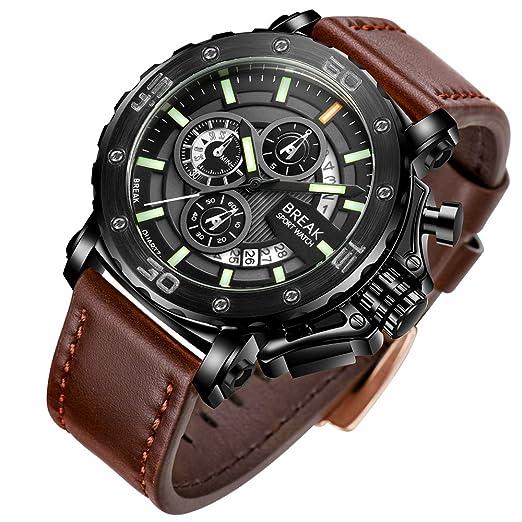 BREAK Reloj de Lujo para Hombre Deporte de Moda Militar Correa de Cuero Calendario Impermeable Cronógrafo Cuarzo Analógico Relojes: Amazon.es: Relojes