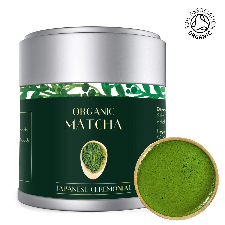 Matcha Green Tea Powder 30g Tin   Finest Organic Ceremonial Premium Grade    Radiation Free   Deep Green   Japanese Uji Kyoto   Stone Ground   Vegan,