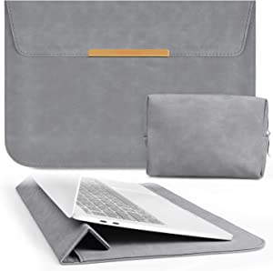 TOWOOZ 13.3 Inch Laptop Sleeve Case Compatible with 2016-2020 MacBook Air / MacBook Pro 13-13.3 inch / iPad Pro 12.9 / Dell XPS 13/ Surface Pro X , PU Leather Bag (13-13.3, Dark Gray)