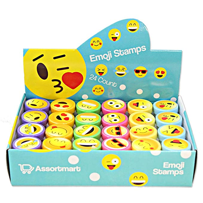 24 Emoji Craft Stampers - Bright Colors and Cool Emoji Designs - Cool Self-Inking Design Prevents Mess - Won't Dry Out Fast - Great for Birthday Party Favors, Easter Eggs, and Stocking Stuffers