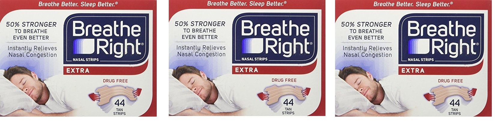 Breathe Right Extra Strong Nasal Strips One Size Fits All, Tan EICZCb, 3 Pack(44 Strips)