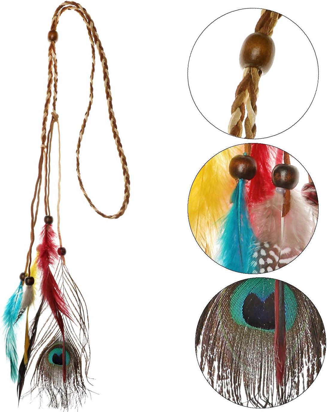 HOWAF Fascia per Capelli Indiana Copricapo di Piume Donna Hippie Boho Fasce Accessori per Capelli e Collana Indiana Orecchini per Donna Ragazze Carnevale Costumi Indiani Accessori