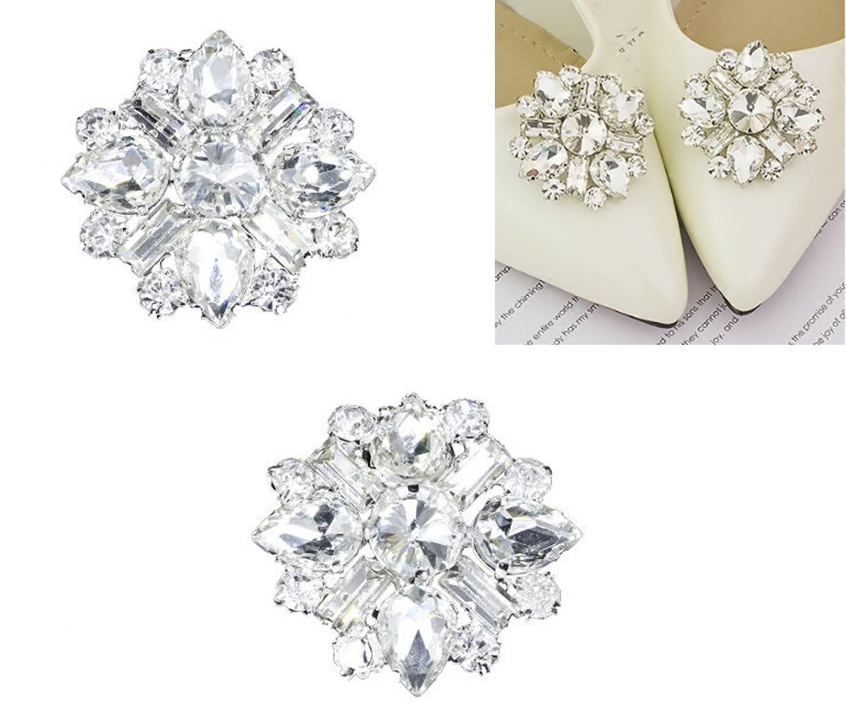 2PCS Elegant Rhinestone Crystal Shoe Clips Shoe Buckle Shoes Decoration Charms for Women Girls Party Bridal Wedding (D#)