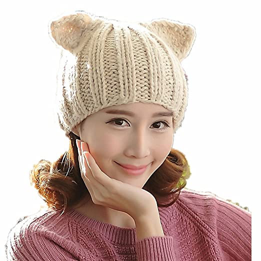 Amazon.com  ALLDECOR Cute Women Dog Ear Beanie 100% Handmade Knitted Winter  Warm Hat Gifts  Clothing 7e626a43b34