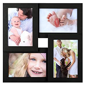 "SONGMICS Picture Frames for 4 Photos in 4"" x 6"" Collage Photo Frames, Wood Grain Frames Glass Front, Wall Hanging or Table Top, Black URPF25BK"