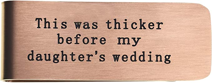 1 inch x 2.5 inches Fast 1 Day Shipping DII QQQ Customized Quote Personalized Wedding Gift Stamp Front or Back Father of the Bride Brass Money Clip
