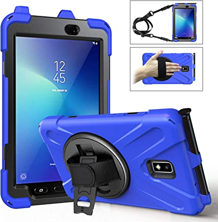 Amazon Com Moko Case Fit Samsung Galaxy Tab Active 2 8 0 Heavy Duty Shockproof Full Body Rugged 360 Degree Rotating With Shoulder Strap Stand Cover For Galaxy Tab Active 2 8 Sm T390 T395 T397 Tablet