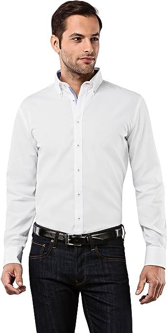 VB camisa para hombre Slim Fit button-down cuello uni Non Iron blanco blanco 40 cm: Amazon.es: Ropa y accesorios