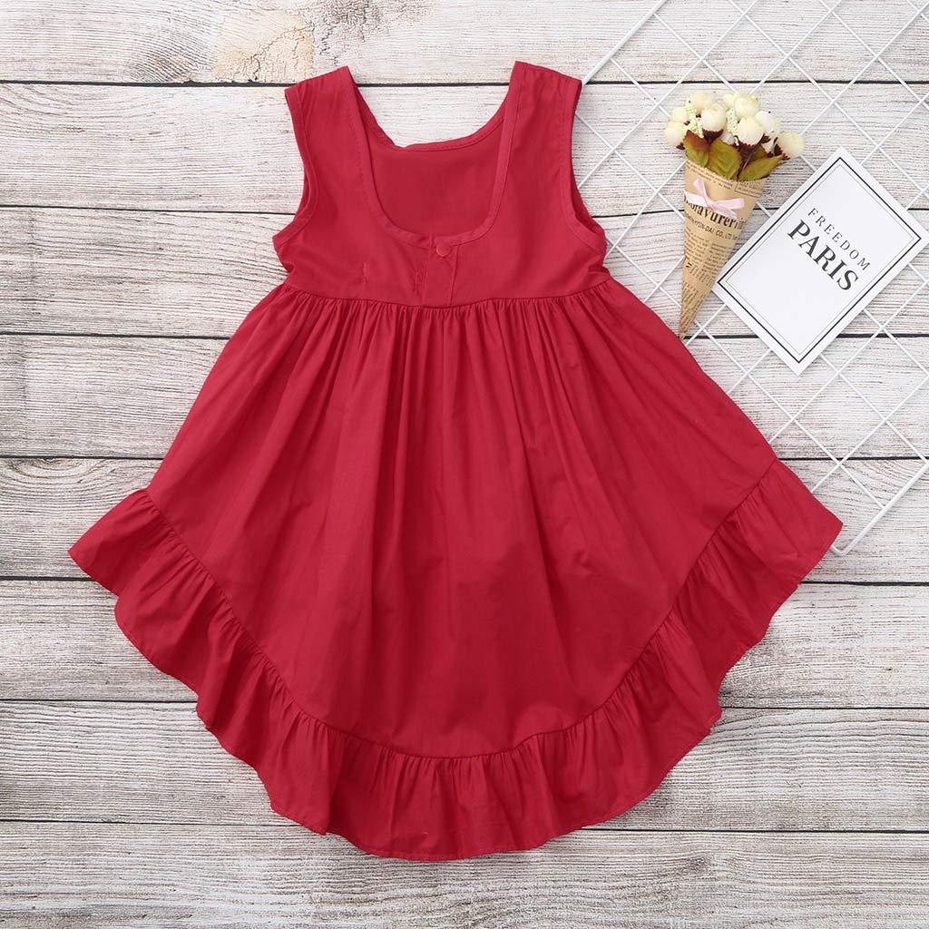YWLINK Baby Clothes Girl Dressestoddler Baby Girls Sleeveless Solid Vest Dress Ruffles Dresses Clothes Denim Fancy Party Dress