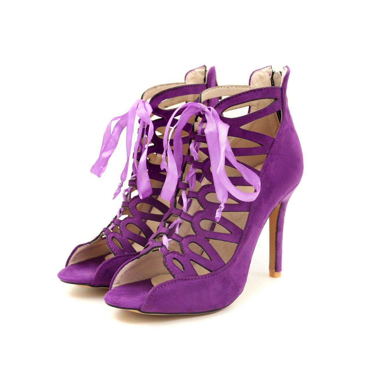 Scarpe da donna 2018 Modelli di esplosione Scarpe con da donna Scarpe con Scarpe fori vuoti Sandali con tacco largo Sandali con il nastro Sandali con tacco alto da donna (Color : Viola, Dimensione : 39)  Viola 6bce7e