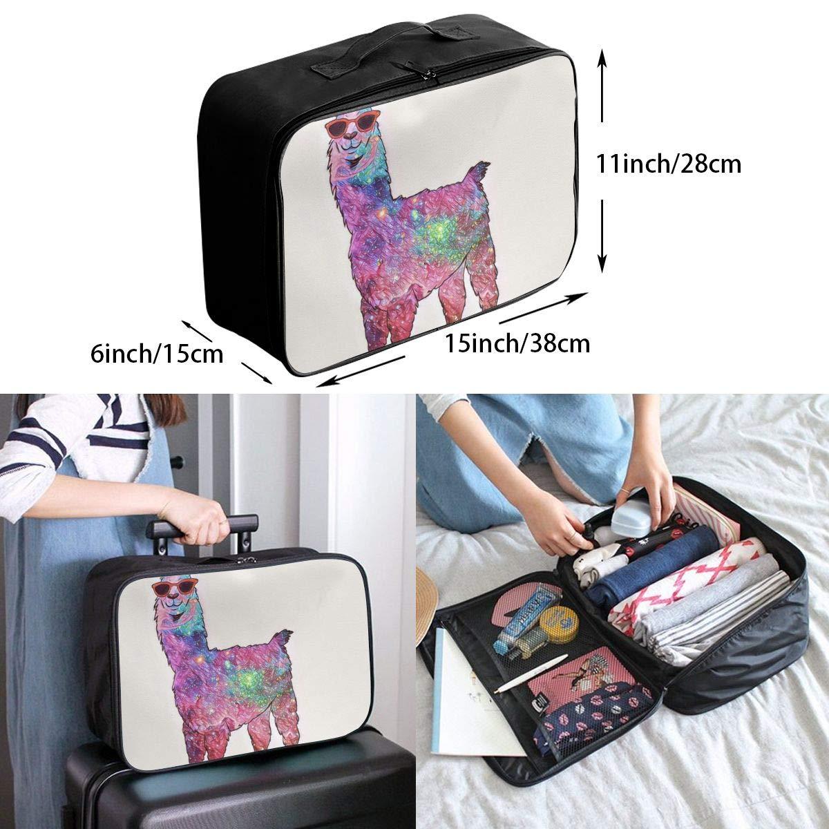 Cartoon Nebula Stars In Llama Travel Lightweight Waterproof Foldable Storage Portable Luggage Duffle Tote Bag Large Capacity In Trolley Handle Bags 6x11x15 Inch