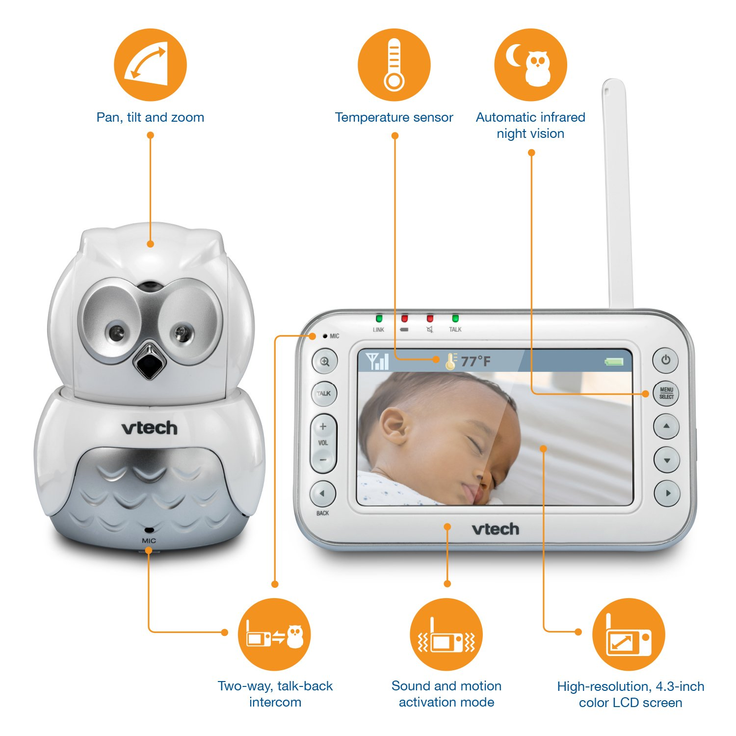 82e4bf51a46 Amazon.com   VTech VM344 Owl Video Baby Monitor with Automatic Infrared  Night Vision, Pan Tilt   Zoom, Temperature Sensor   1, 000 feet of Range    Baby