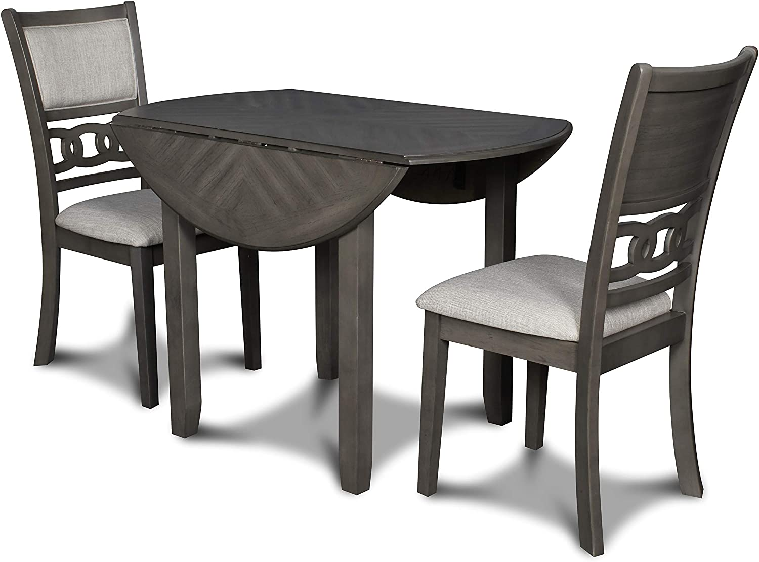 New Classic Furniture Gia Drop Leaf Dining Table with Two Chairs, 42-Inch, Gray