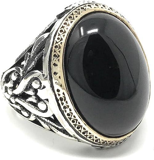 Especial 925er sello anillo con Onyx