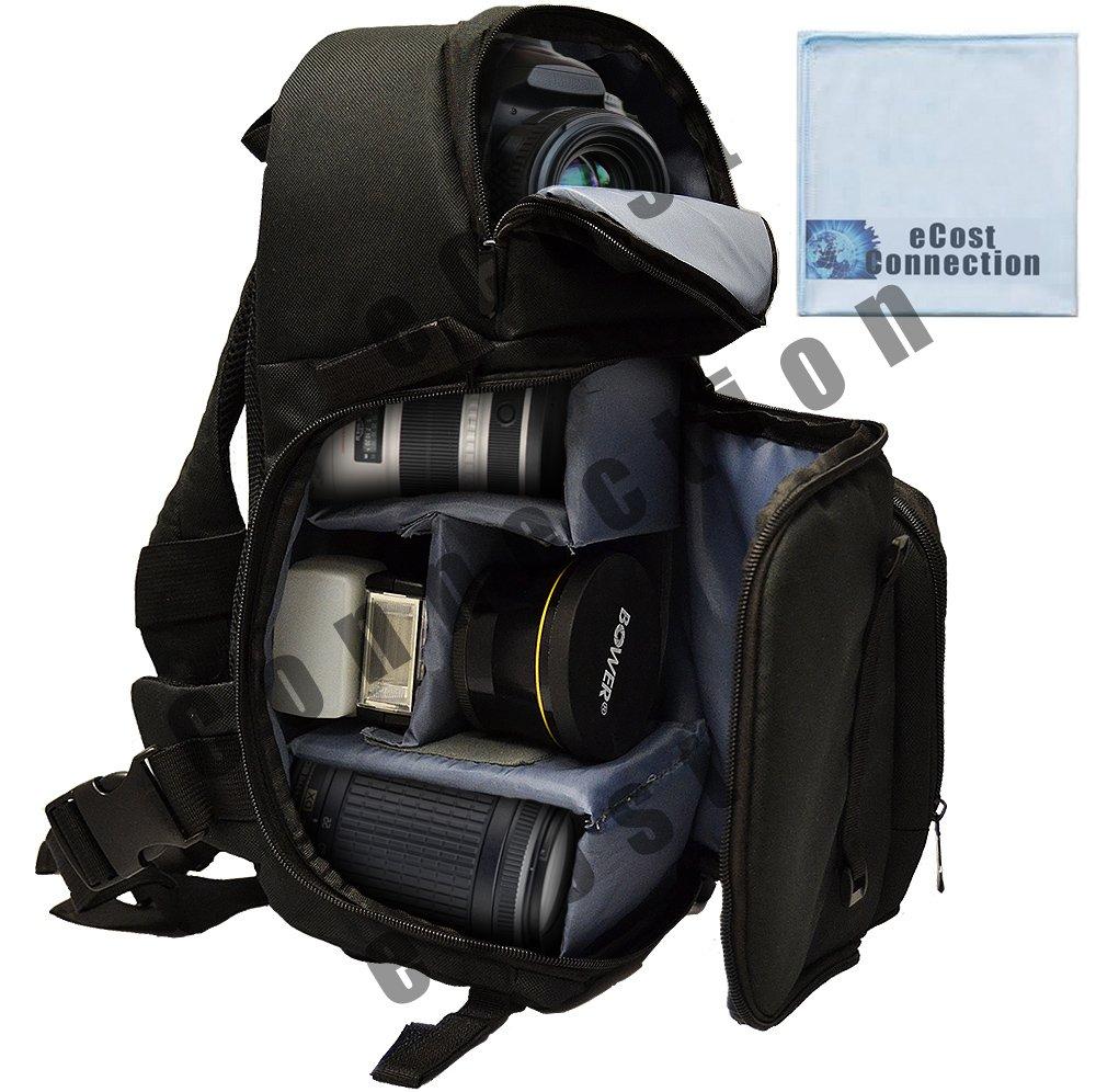 Sling Style Shoulder Bag For Canon VIXIA HF G10, G20, G30, M40, M400, M50, M52, M500, R20, R30, R40, R42, R50, R52, R300, R400, R500, S30, S42 & More… + Microfiber Cloth