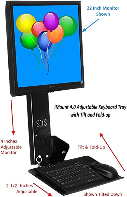 Monoprice Workstation Wall Mount For Keyboard and Monitor With 55 lbs Max Weight