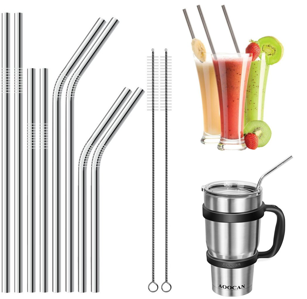 JOUNY Set of 8 Stainless Steel Straws for 30oz 20oz Tumblers Cups Mugs RTIC & Yeti Tumblers Rambler and more, Drinking Metal Straw by JOUNY