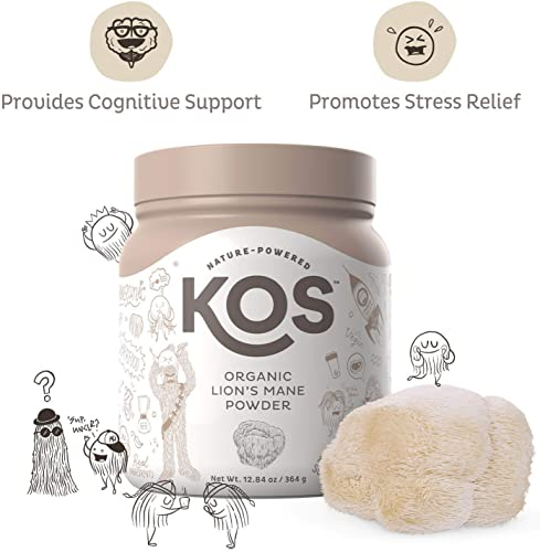 KOS Organic Lion s Mane Powder – Memory Improving Nootropic Lion s Mane Powder – Promotes Immunity, Cerebral Nerve Health – USDA Organic Plant Based Ingredient, 364g, 104 Servings