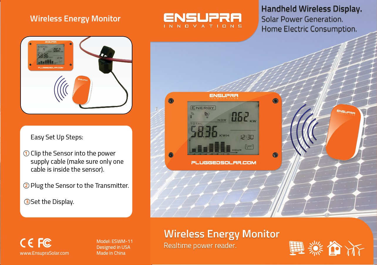 Wireless Solar Power Meter for Solar Power (AC), Monitor Displays Live KW (Kilo-Watts of AC Power Generation), Records the Solar PV Electricity Prodtion in Kwh, Shows Money Savings and Co2 Avoiaded. Used also for Monitoring Electricity Generation from Win by Plugged Solar (Image #5)