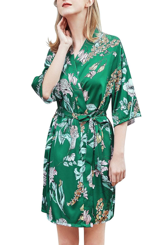 Stile Corto di Seta Raso di Seta del Gru e Fiori Robe Accappatoio Damigella dOnore da Notte Pigiama YAOMEI Donna Kimono Vestaglia Pigiama Sleepwear