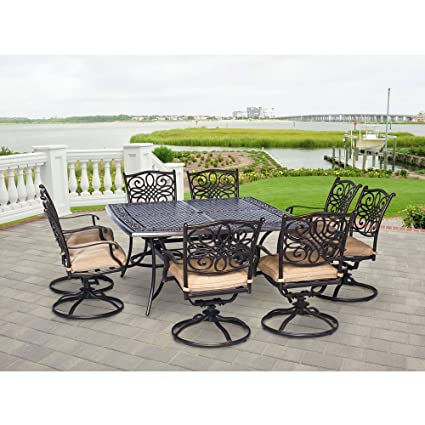 Remarkable Hanover Traddn9Pcswsq 8 Traditions 9 Piece Rust Free Aluminum Patio Dining Set Outdoor Furniture 60 X 60 Tan Beutiful Home Inspiration Aditmahrainfo