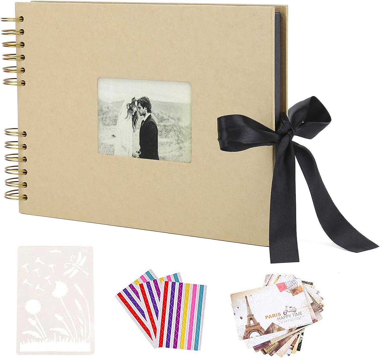AIOR Album de Fotos Scrapbook Espiral, 80 Páginas Negras (40 Hojas), DIY Scrapbooking Album Original para Boda, Regalos Niños, Regalos Aniversario de Cumpleaños Navidad para Mujer Niña (Amarillo)