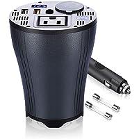 Inversor de corriente para coche de 160 W CC 12 V a 110 V CA, convertidor con 1 salida de CA y 4,8 A puertos USB duales…