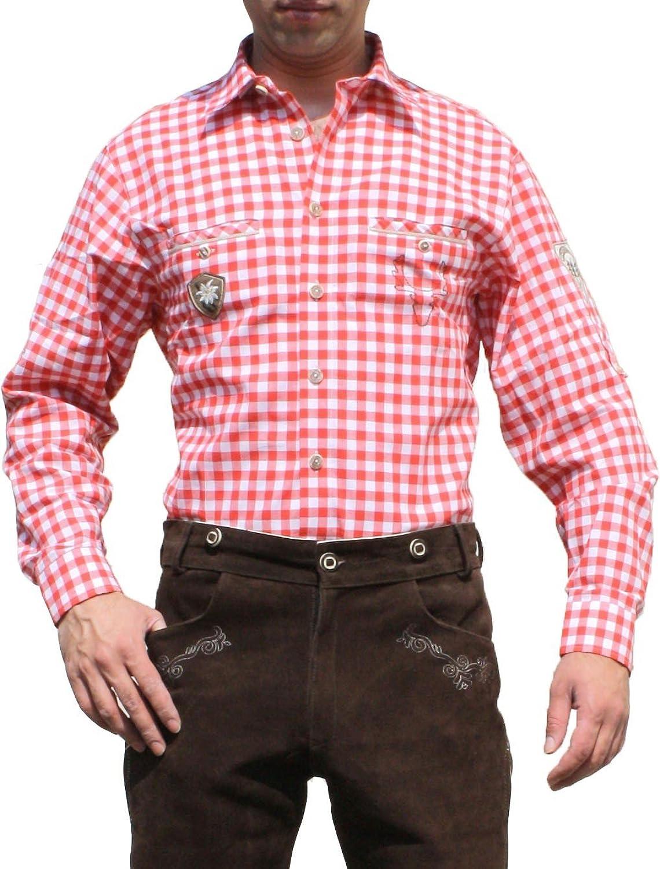 Trachtenhemd hemd für Trachten Lederhosen mit Verzierung rot/kariert