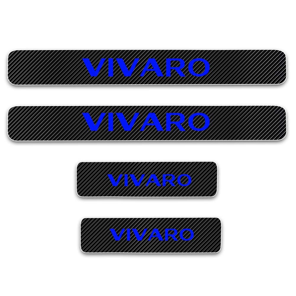 For VIVARO 4D M Car Pedal Covers Door Sill Protectors Entry Guard Scuff Plate Trims Anti-Scratch Reflective Carbon Fiber Stickers Auto Accessories Exterior Styling 4Pcs Blue