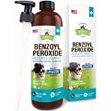 Benzoyl Peroxide Shampoo for Dogs, Cats, Sulfur - 16 oz - Medicated Dog Shampoo for Smelly Dogs, Anti Itch Dry Skin Allergy T