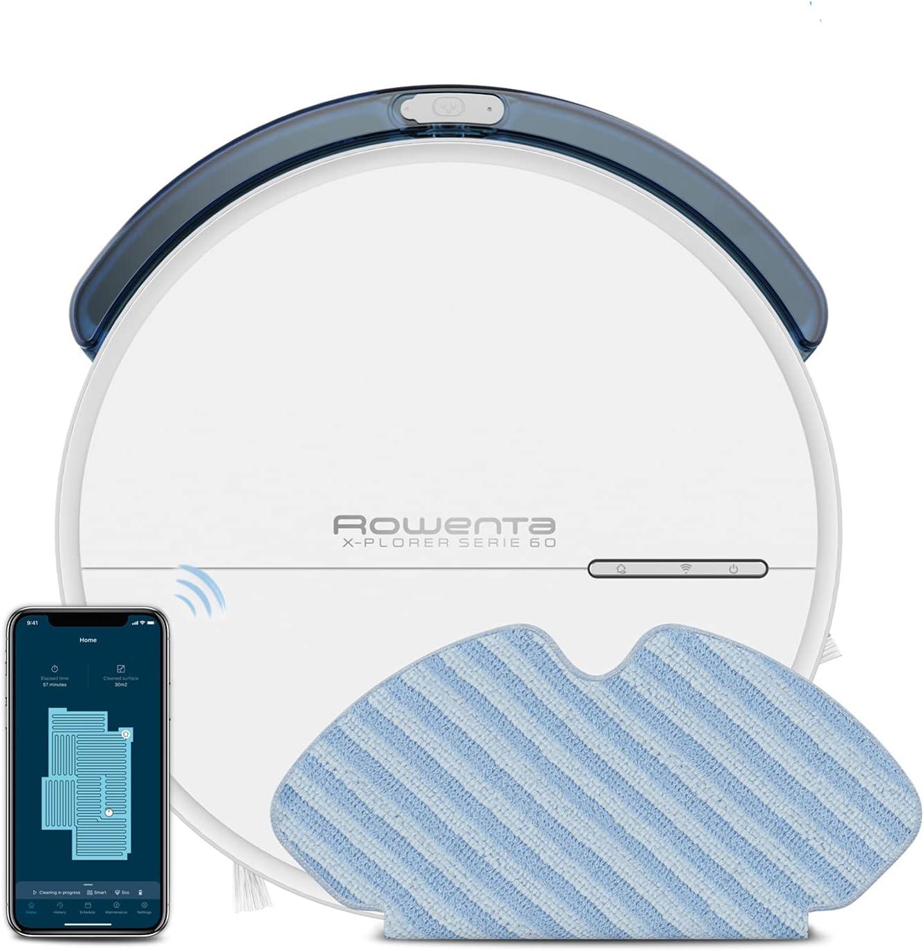Rowenta X-Plorer Serie 60 Aspirateur robot, Navigation méthodique, Design ultrafin, Aspire et...