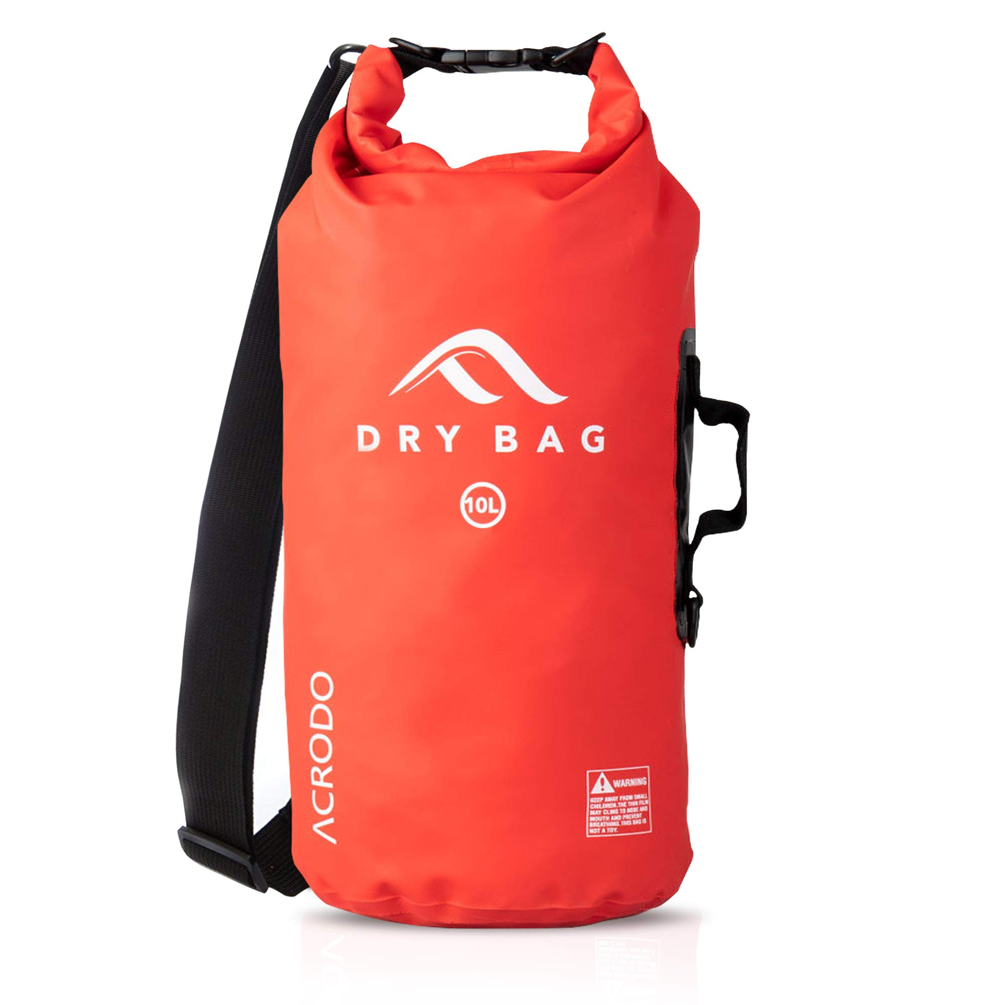 Acrodo Waterproof Dry Bag - Red 10 Liter Floating Sack for Beach, Kayaking, Swimming, Boating, Camping, Travel & Gifts by Acrodo
