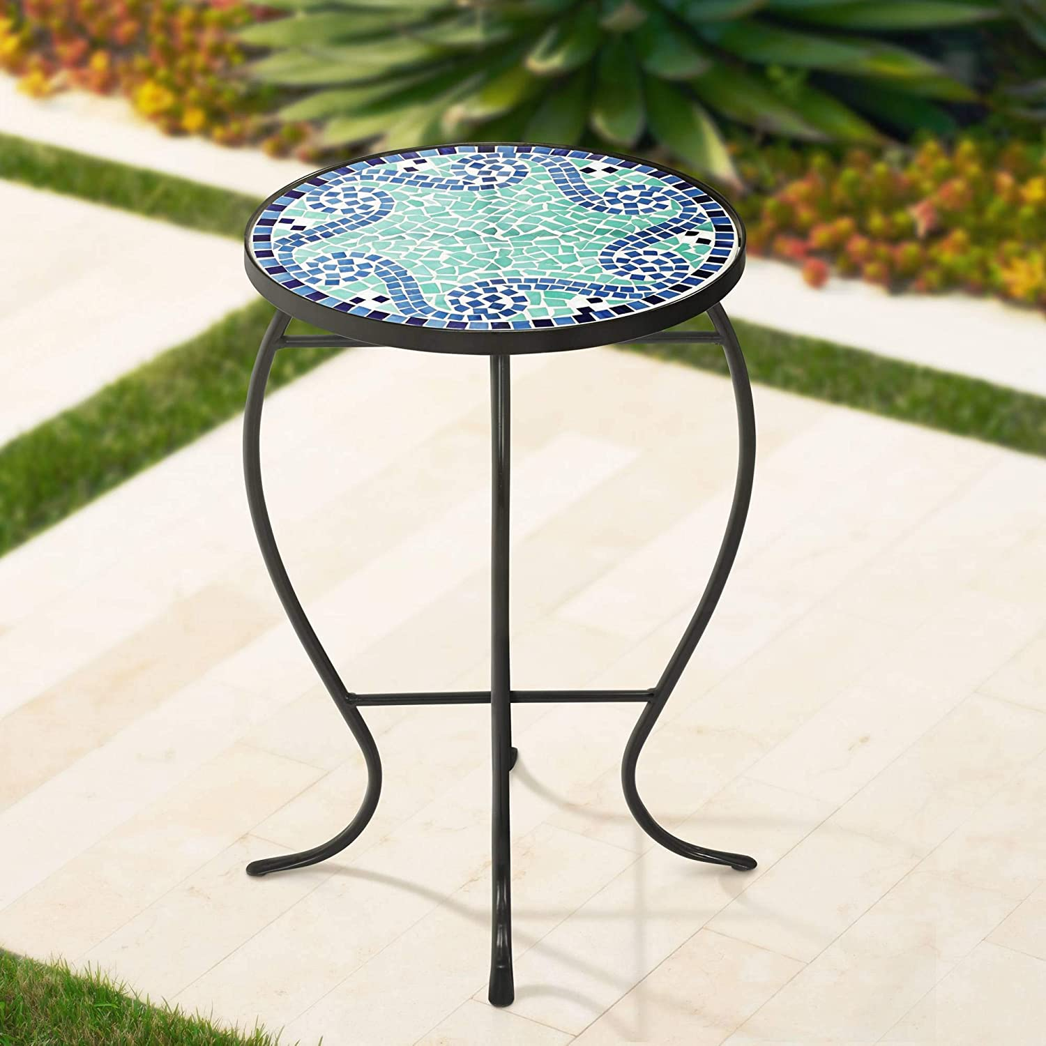 Ocean Wave Mosaic Black Iron Outdoor Accent Table - Teal Island Designs