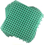 Set of 9 Interlocking Green Rubber Floor Tiles- 11.75 inches Each