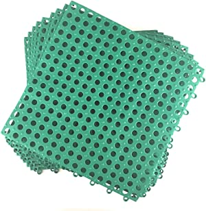 Set of 9 Interlocking Green Rubber Floor Tiles- 11.75 inches Each Side - Wet Areas Like Pool Shower Locker-Room Bathroom Deck Patio Garage Boat. Can be Cut to fit- Mako Line - Foghorn Construction