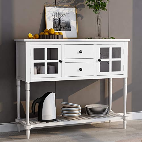 Wood Console Sofa Table with Drawers and Bottom Shelf, Storage Buffet Sideboard Cabinet for Kitchen Entryway Side Table for Living Room White