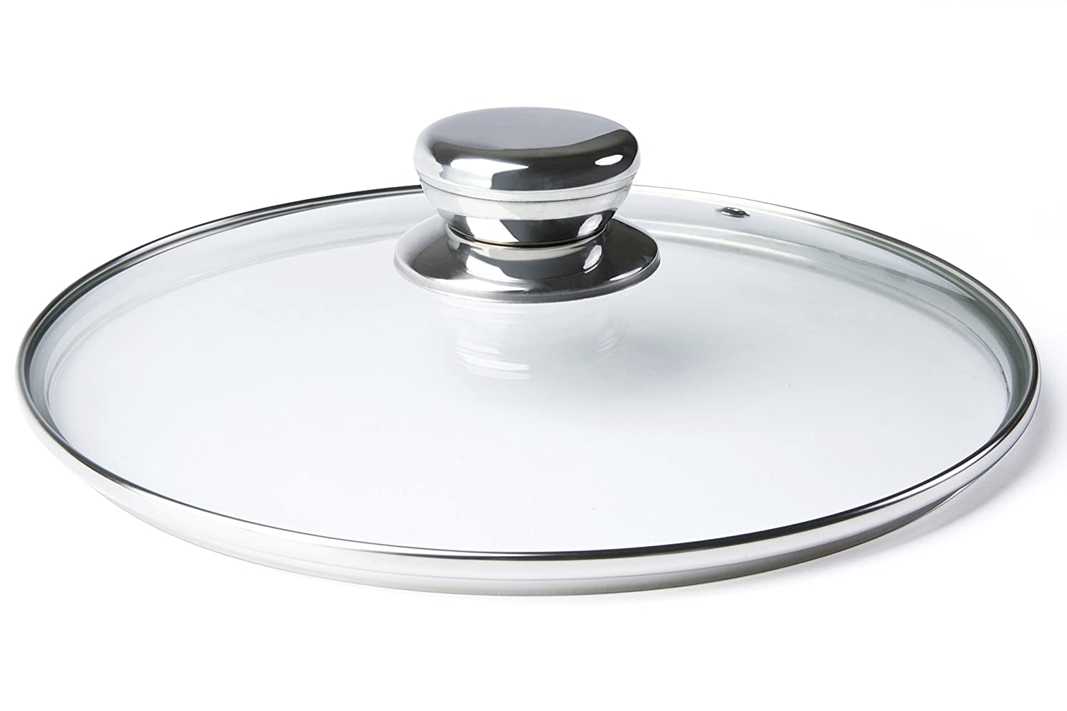 ETHDA Tempered Glass Lid, Fits Cookware of 8 inch,Universal Replacement for Frying Pans,Pots,Cast Iron Skillets,Woks, Instant Pots, Round, Clear, with Steam Vent, Stainless Steel Knob (20cm)
