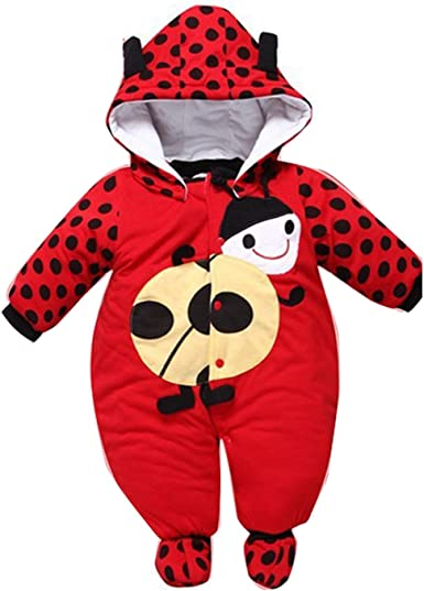 Newborn Baby Infant Winter Warm Romper Hooded Jumpsuit Bodysuit Outfit Clothes