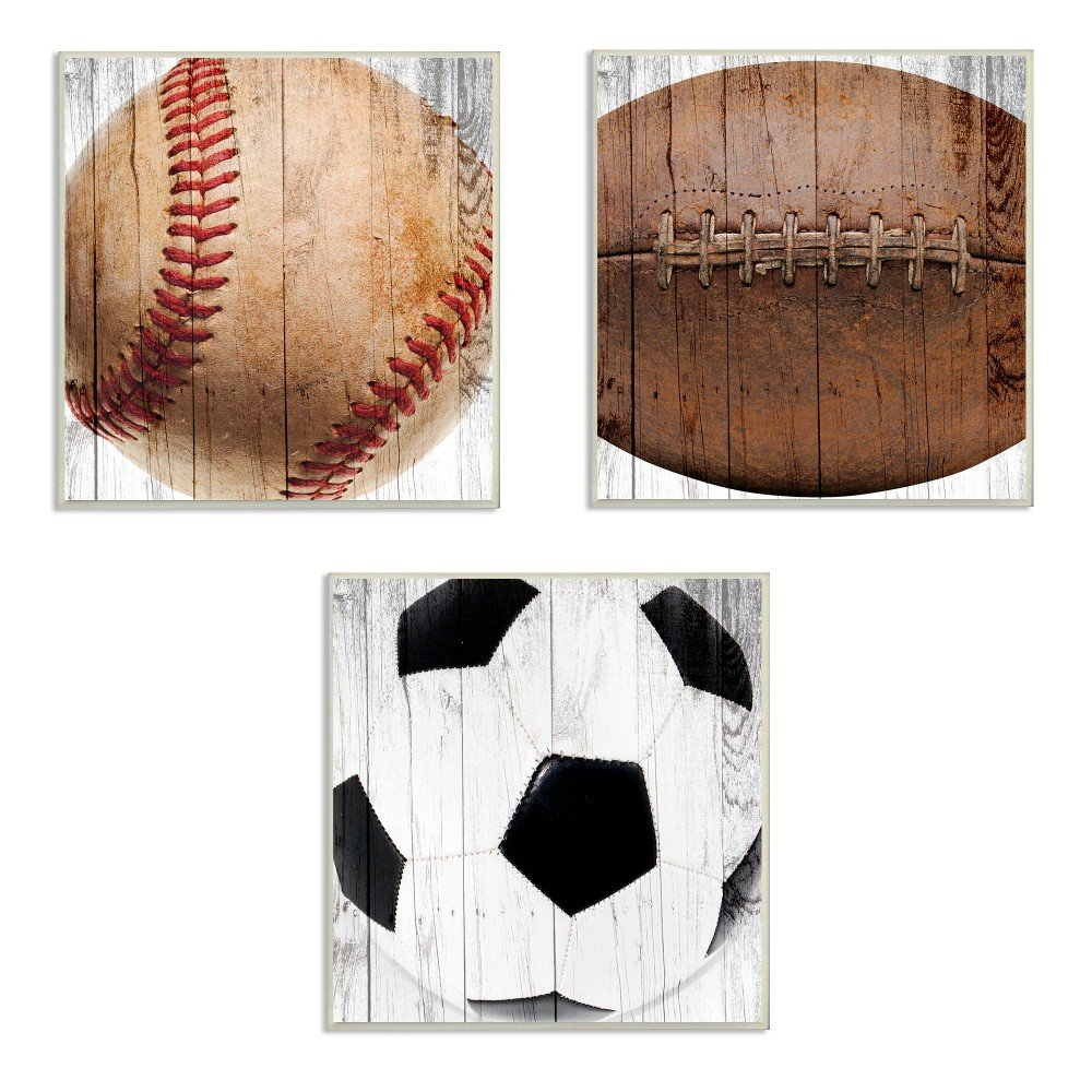 The Kids Room by Stupell Baseball Football Soccer Wood Planks 3pc Wall Plaque Art Set, 12 x 0.5 x 12, Proudly Made in USA by The Kids Room by Stupel