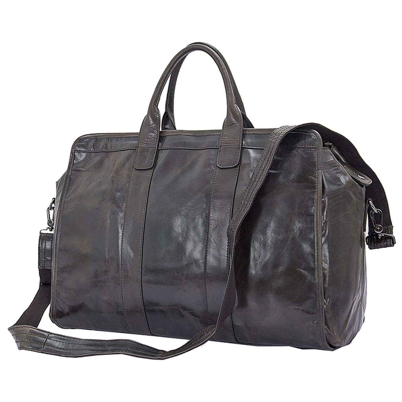 Large Mens Overnight Leather Travel Weekend Bag 17inch Luggage by Berchirly