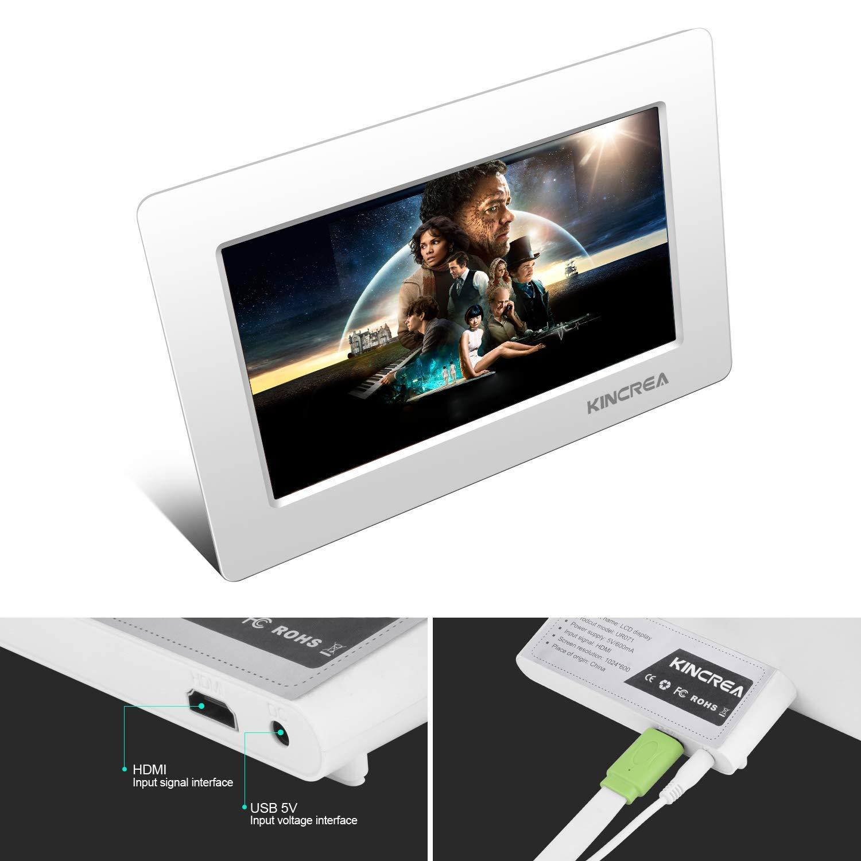 KINCREA 7 Inch HD LCD Screen for Raspberry Pi 1024 X 600 HDMI Monitor with Ultra-Slim Shell for Raspberry Pi 3 2 Model B 3B 2B B A 7 Inch Raspberry Pi Screen