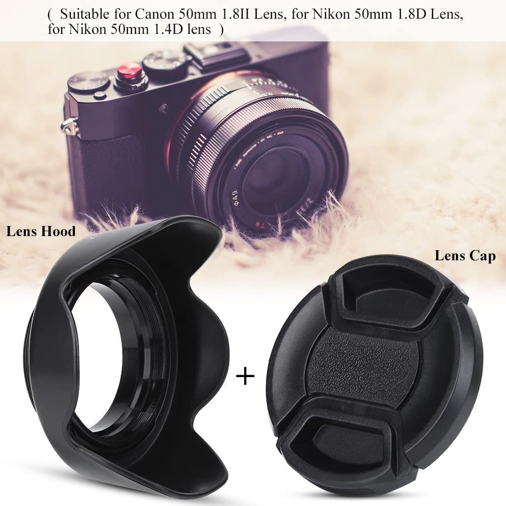 Acouto ES-62II Camera DSLR Lens Hood for Canon 50mm f//1.8 II with Lens Cap for Nikon 50mm 1.8D Lens for Nikon 50mm 1.4D Lens