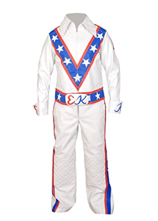 aa1cf63fd Flesh & Hide F&H Men's Evel Knievel Genuine Leather Motorcycle Suit Jacket  + Pant