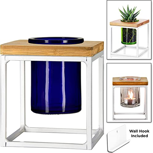Couronne Company, Cobalt Blue, 1 Piece Couronne Co. Coastal Pablo Cube Desktop or Hanging Planter Vase Candle Holder, 5 Inches tall, White Frame Glass, M260-200-15, 176ml