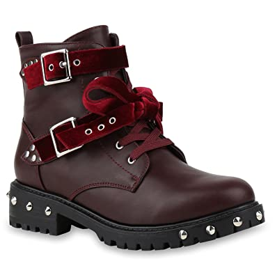Damen Biker Boots Schnürstiefel Schnallen Nieten Stiefeletten Schuhe 135636 Dunkelrot 37 Flandell eI8G9l