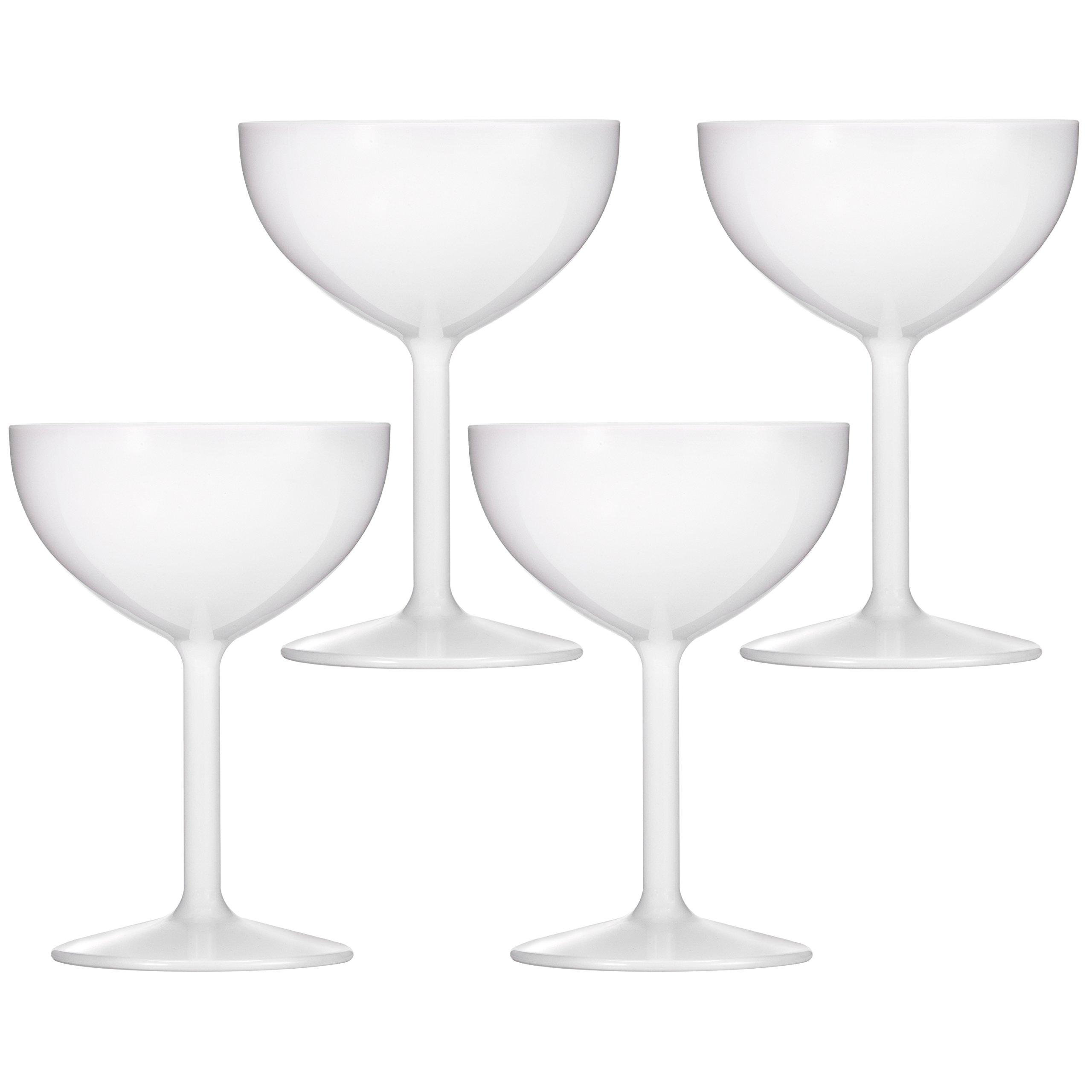 Drinique VIN-CU-WHT-4 Champagne Coupe Unbreakable Tritan Stemware, 8 oz (Set of 4), White